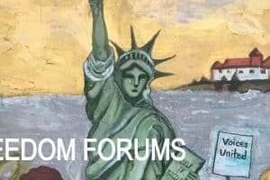 "Painting of The Statue of Liberty with the words ""Freedom Forums"""