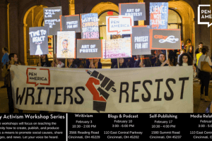 "Protestors with sign that reads ""Writer's Resist"" with PEN logo of fist with pen"