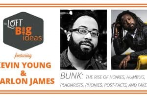 Event graphic featuring headshots of Kevin Young and Marlon James