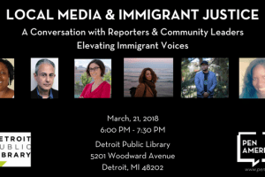 Local media and Immigrant Justice event graphic featuring headshots of participating reporters and community leaders