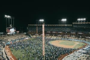 crowd of people on a baseball field