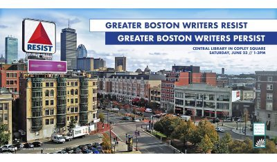 Greater Boston Writers Resist event graphic featuring photo of Boston street