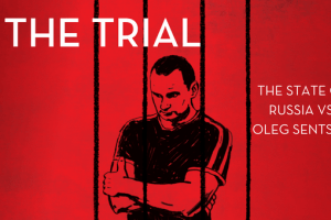 """Illustration of Oleg Sentsov behind bars and the words """"The Trial: The State of Russia vs Oleg Sentsov"""