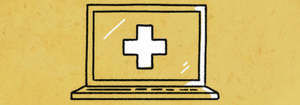 computer with health cross