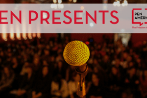 PEN Presents event series image of microphone in front of an audience