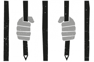 graphic of hands holding prison cell bars that look like pencils