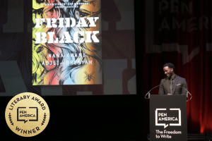 Nana Kwame Adjei-Brenyah on stage at the 2019 PEN Literary Awards Ceremony