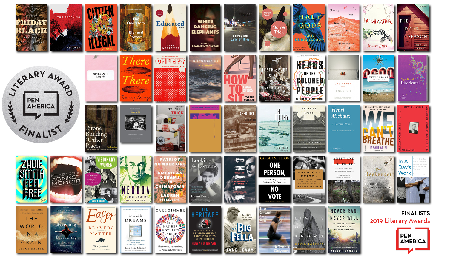 Book covers of the 2019 PEN America Literary Awards Finalists