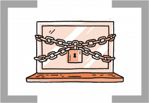 icon of laptop with padlock and chains around it