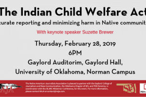 event flyer for the Indian Child Welfare Act Reporting Symposium with keynote speaker Suzette Brewer