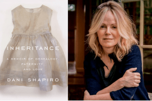 Dani Shapiro and the cover of her book, Inheritance