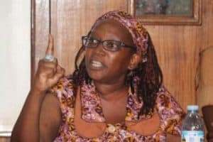 Stella Nyanzi talking with her index finger up