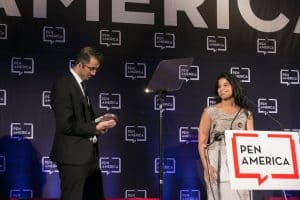 Lina and Walid Al-Hathloul accept the 2019 Freedom to Write Award on behalf of their sister, Loujain