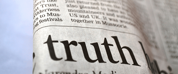"""the word """"truth"""" on a newspaper"""