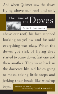 The Time of the Doves, Translated from the Catalan by David Rosenthal