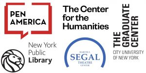 Conference partner logos: PEN America, The Center for the Humanities, New York Public Library, Martin E. Segal Theater Center, The CUNY Graduate Center
