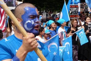 Protesters outside the White House, protesting in support of Uyghurs in China