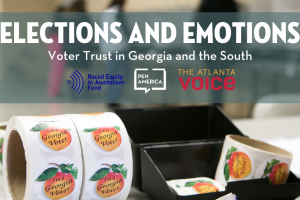 "Georgia peach voting sticker roll with ""Elections and Emotions"" at the top"