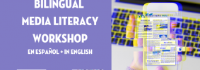 """faded phone in front of laptop next to text """"Bilingual Media Literacy Workshop"""""""