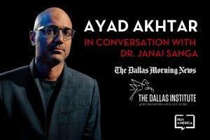 Ayad Akhtar headshot on the left; on the right: Logos of The Dallas Morning News, The Dallas Institute of Humanities and Culture, and PEN America