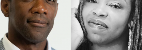 Headshots of Jarvis DeBerry and Kelly Harris-DeBerry side by side