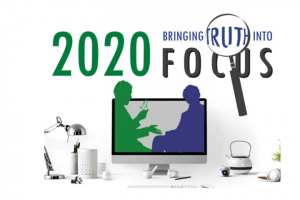 "Mayborn Conference 2020 Logo with text ""Bringing Truth into Focus"""