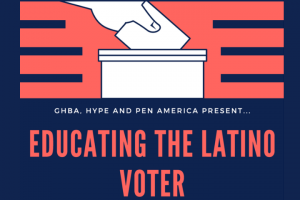 """Educating the Latino Voter"" pink and dark blue striped background cartoon hand submitting ballot"