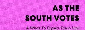 """""""Ballot Application Enclosed"""" envelope with pink overlay as backdrop; on top: """"PEN America #WhatToExpect 2020, As the South Votes: A What To Expect Town Hall"""" and Scalawag's logo at the bottom"""