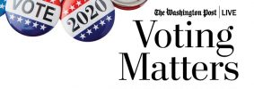 """""""Vote"""" and """"2020"""" buttons with The Washington Post Live logo, the text """"Voting Matters: Disinformation,"""" and """"in Partnership with PEN America #WhatToExpect2020"""""""