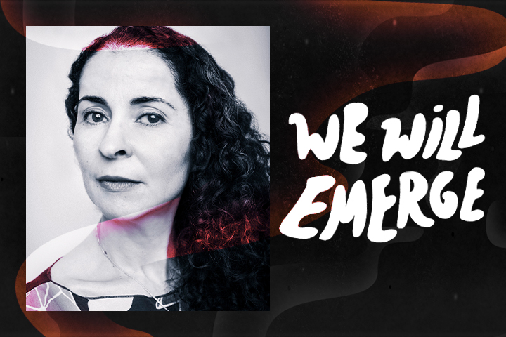 "Colorful swirl effect overlaid on top of framed headshot of Laila Lalami and next to the text ""We Will Emerge"""
